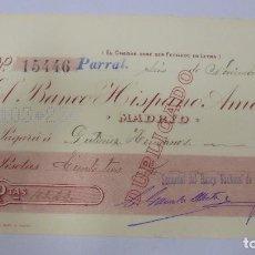 Documentos bancarios: CHEQUE. BANCO HISPANO AMERICANO. MADRID. 1909. Lote 99350443