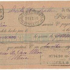Documentos bancarios: LETRA DE CAMBIO. SEVILLA 1900. CON SELLO ADICIONAL 10 CTS. MARRÓN TIMBRE MOVIL 1900.. Lote 17929867