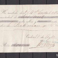 Documentos bancarios: ,,,RECIBO JOSE DE LA VIESCA DE CADIZ, 28 AGOSTO 1875, VALOR 2.000 REALES. Lote 99399075