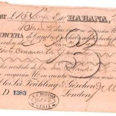 Documentos bancarios: LETRA DE CAMBIO LA HABANA. CUBA. J.M. BORJES & CIA. AÑO 1885. Lote 109335647