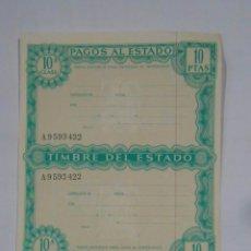 Documentos bancarios: PAPEL HOJA DE PAGOS AL ESTADO. TIMBRE DEL ESTADO. 10 PESETAS. AÑOS 60. TDKP2. Lote 101987607
