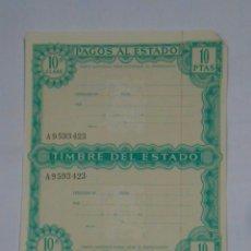 Documentos bancarios: PAPEL HOJA DE PAGOS AL ESTADO. TIMBRE DEL ESTADO. 10 PESETAS. AÑOS 60. TDKP2. Lote 101987643