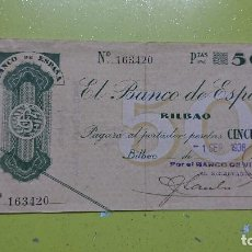 Documentos bancarios: PAGARE 50 PESETAS, BILBAO 1 SEPTIEMBRE 1936. Lote 102436459
