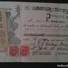 Documentos bancarios: F.VERDEJO BORRAS-MANISES-LETRA CAMBIO. Lote 103477823