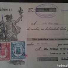 Documentos bancarios: F.VERDEJO BORRAS-MANISES-LETRA CAMBIO,P.PUIGGROS RIBA,BARCELANA.-1935. Lote 103478319