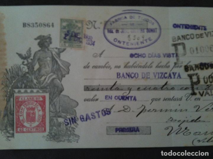 F.VERDEJO BORRAS-MANISES-LETRA CAMBIO,FABRICA DE TEJIDOS,JOSE BALIANA DONAT,ONTENIENTE .-1934 (Coleccionismo - Documentos - Documentos Bancarios)
