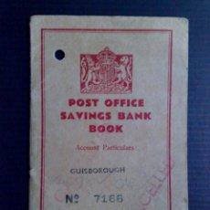 Documentos bancarios: LIBRETA-BOOK,POST OFFICE UK,SAVINGS BANK-GUISBOROUGH 1949 (DESCRIPCIÓN). Lote 103480323