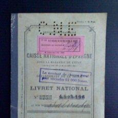 Documentos bancarios: LIVRET NATIONAL-CAISSE NATIONALE D'EPARGNE,(COMPL.24 PAG.) EXPEDIDO;PARIS 1930 (DESCRIPCIÓN). Lote 103481175
