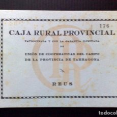 Documentos bancarios: LIBRETA CAJA RURAL PROVINCIAL,REUS 1963 (DESCRIPCIÓN). Lote 103560391