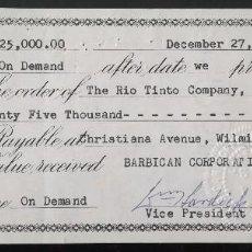 Documentos bancarios: CHEQUE BANCARIO THE RIO TINTO COMPANY LIMITED (1962). Lote 104064683