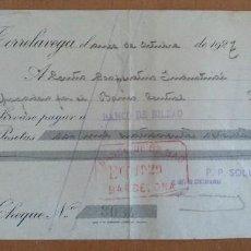 Documentos bancarios: LETRA DE CAMBIO SOLVAY Y CIA TORRELAVEGA 1927 27 X 12 CM (APROX). Lote 104170699