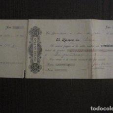 Documentos bancarios: ESCUELAS PIAS - CHEQUE - EL BANCO DE ROMA PAGARA..FIRMA JUAN MILLET -AÑO 1913-VER FOTOS -(V- 12.726). Lote 104192615