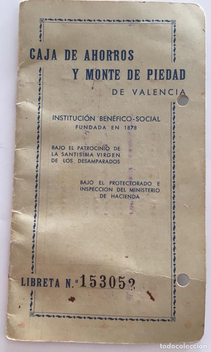 LIBRETA CAJA DE AHORROS Y MONTE DE PIEDAD. VALENCIA. 1965. (Coleccionismo - Documentos - Documentos Bancarios)