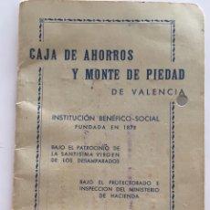 Documentos bancarios: LIBRETA CAJA DE AHORROS Y MONTE DE PIEDAD. VALENCIA. 1965.. Lote 105333216