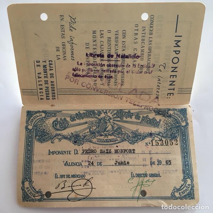 Documentos bancarios: LIBRETA CAJA DE AHORROS Y MONTE DE PIEDAD. VALENCIA. 1965. - Foto 2 - 105333216