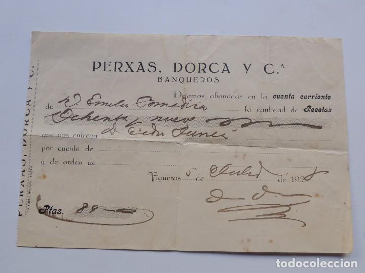 BANQUEROS - PERXAS, DORCA Y CIA. / FIGUERES 1928 / GIRONA (Coleccionismo - Documentos - Documentos Bancarios)