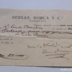Documentos bancarios: BANQUEROS - PERXAS, DORCA Y CIA. / FIGUERES 1928 / GIRONA. Lote 105363095