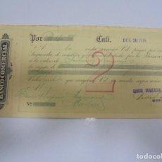 Documentos bancarios: LETRA DE CAMBIO. BANCO COMERCIAL. CALI, COLOMBIA. 1916. Lote 105398591