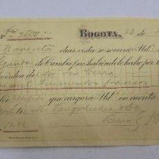 Documentos bancarios: LETRA DE CAMBIO. CAMACHO ROLDAN & CIA. BOGOTA, COLOMBIA. 1888. Lote 105400767