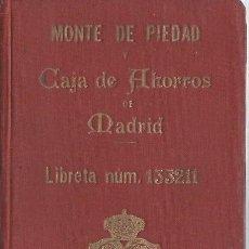 Documentos bancarios: AG40- LIBRETA DEL MONTE DE PIEDAD Y CAJA DE AHORROS DE MADRID - DEL 22 - 5 - 1929 . Lote 106096007