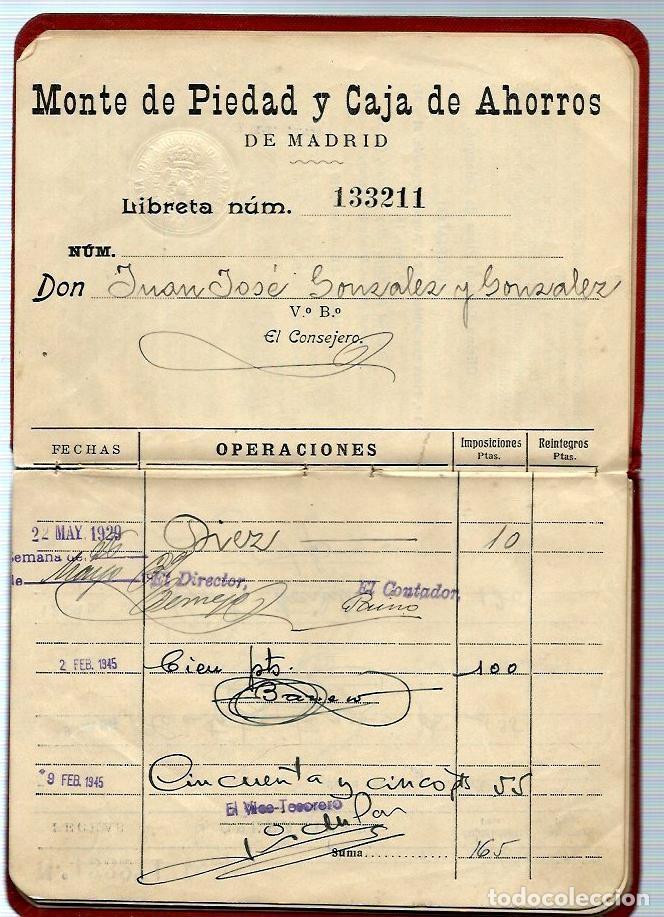 Documentos bancarios: AG40- LIBRETA del MONTE DE PIEDAD y CAJA DE AHORROS DE MADRID - del 22 - 5 - 1929 - Foto 3 - 106096007