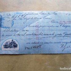 Documentos bancarios: CHEQUE. N. GELATS Y CIA. DE HABANA A PRAVIA. 1921. Lote 106696839