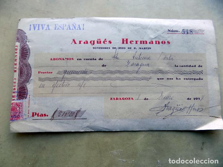 CHEQUE. ARAGUES HERMANOS, SUCESORES DE HIJO DE P. MARTIN. ZARAGOZA 1937 (Coleccionismo - Documentos - Documentos Bancarios)