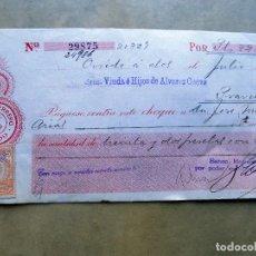 Documentos bancarios: CHEQUE. BANCO HERRERO, OVIEDO. DE OVIEDO A PRAVIA. 2 DE JULIO DE 1920. Lote 106698251
