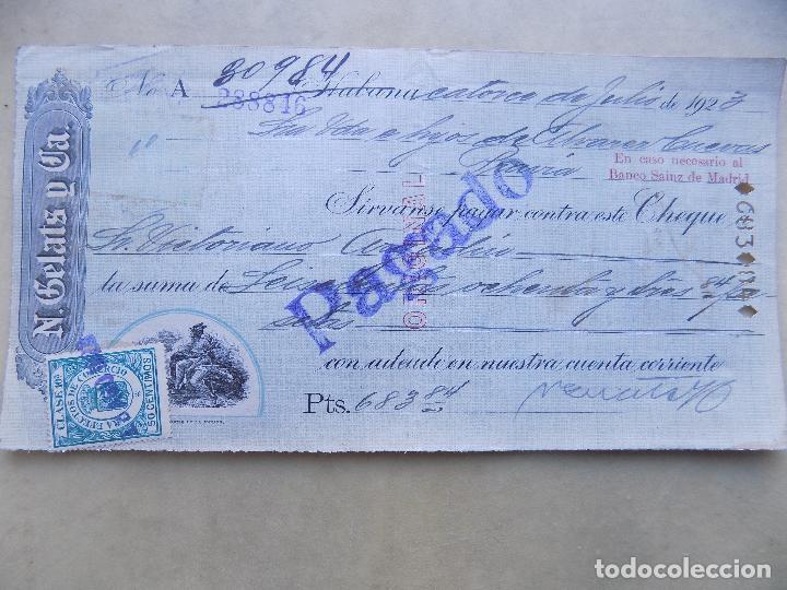 CHEQUE. N. GELATS Y CIA. DE HABANA A PRAVIA. 1923 (Coleccionismo - Documentos - Documentos Bancarios)
