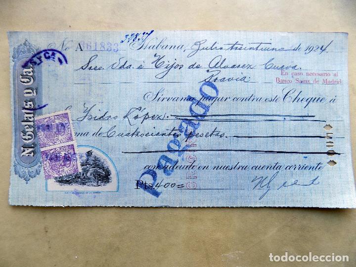 CHEQUE. N. GELATS Y CIA. DE HABANA A PRAVIA. 1924 (Coleccionismo - Documentos - Documentos Bancarios)