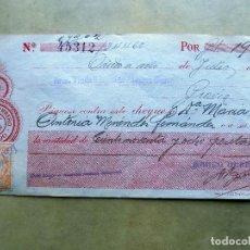 Documentos bancarios: CHEQUE. BANCO HERRERO, OVIEDO. DE OVIEDO A PRAVIA. 1921. Lote 106699567
