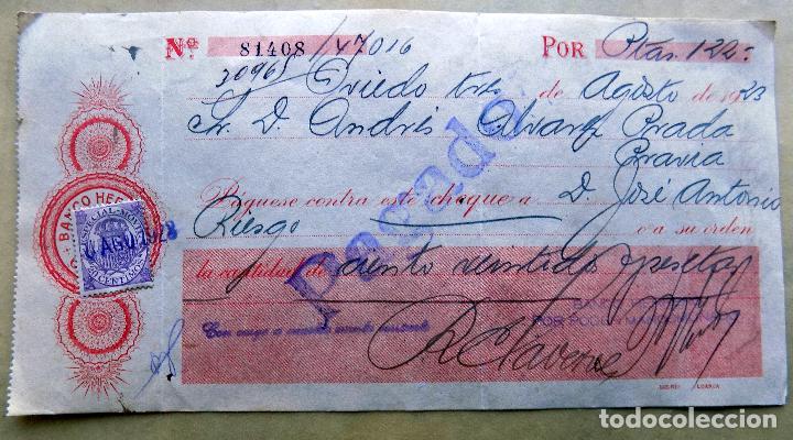 CHEQUE. BANCO HERRERO, OVIEDO. DE OVIEDO A PRAVIA. 1923 (Coleccionismo - Documentos - Documentos Bancarios)