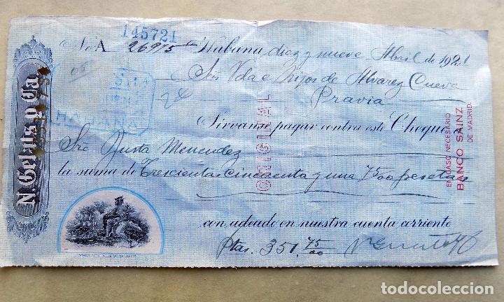 CHEQUE. N. GELATS Y CIA. DE HABANA A PRAVIA. 1921 (Coleccionismo - Documentos - Documentos Bancarios)