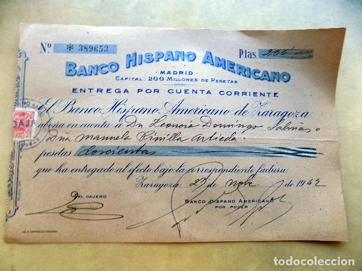 CHEQUE. BANCO HISPANO AMERICANO. ZARAGOZA. 1943 (Coleccionismo - Documentos - Documentos Bancarios)