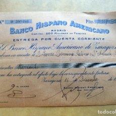 Documentos bancarios: CHEQUE. BANCO HISPANO AMERICANO. ZARAGOZA. 1942. Lote 106703443