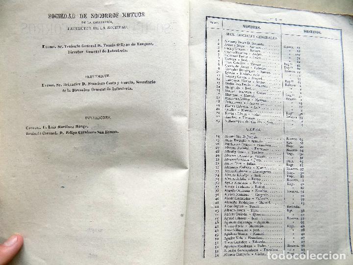 Documentos bancarios: SOCIEDAD DE SOCORROS E INFANTERIA. ESCALAFON DE SEÑORES SOCIOS. 1882. MADRID. - Foto 2 - 107199459