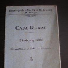 Documentos bancarios: LIBRETA DE AHORROS DE LA CAJA RURAL DE PUZOL, 1926. Lote 108518719
