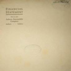 Documentos bancarios: BALANCE CONTABLE ORIGINAL DE AUTOMÓVILES AUBURN DE 1924. MUY RARO.. Lote 108778607