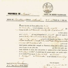 Documentos bancarios: PAGARÉ VENTA DE BIENES NACIONALES. PROVINCIA DE MURCIA. AÑO 1859. Lote 108984324