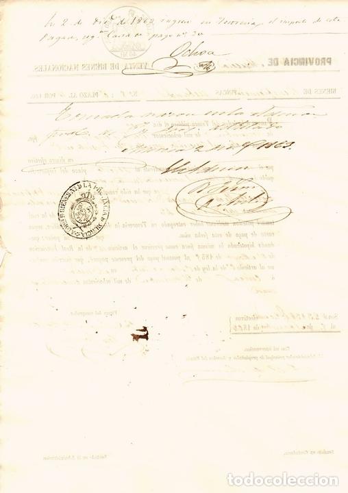 Documentos bancarios: PAGARÉ VENTA DE BIENES NACIONALES. PROVINCIA DE MURCIA. AÑO 1859 - Foto 2 - 108984324