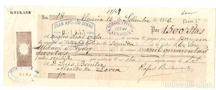 LETRA DE CAMBIO. ALMERIA, 14 DE SETIEMBRE DE 1886 (Coleccionismo - Documentos - Documentos Bancarios)