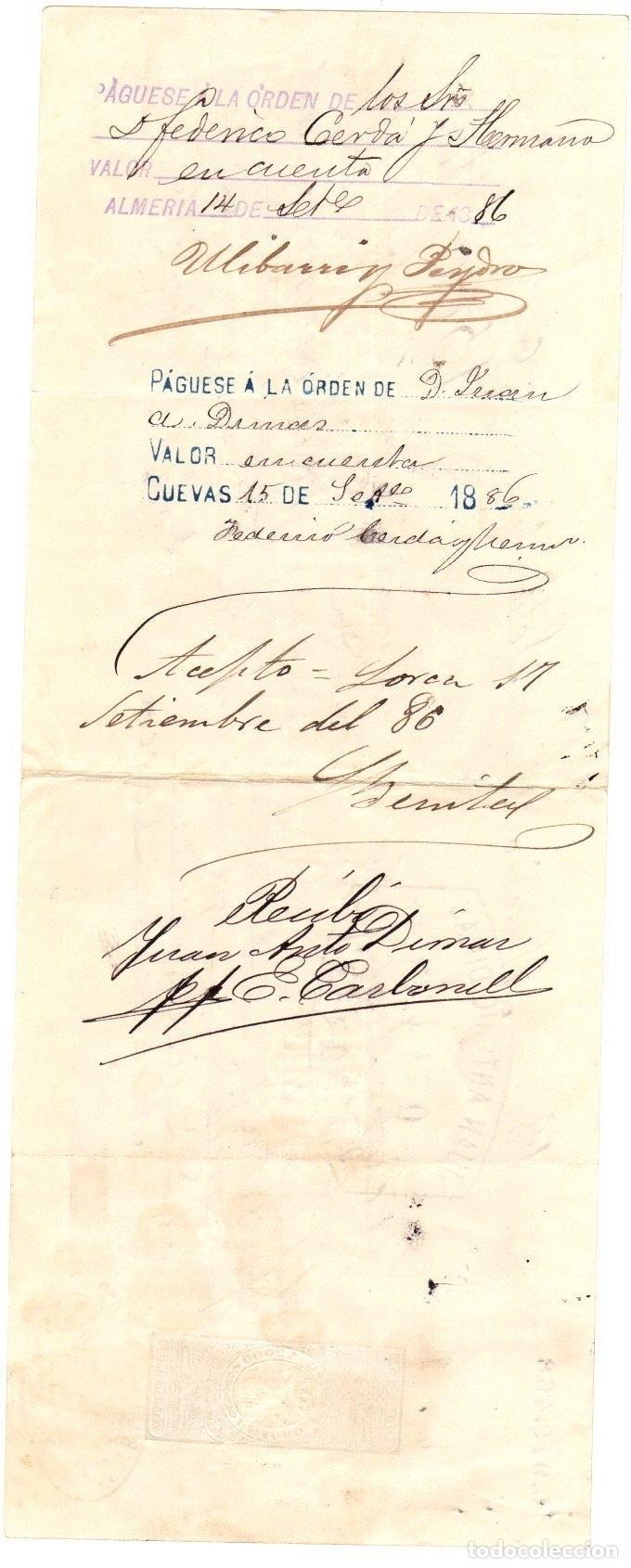 Documentos bancarios: LETRA DE CAMBIO. ALMERIA, 14 DE SETIEMBRE DE 1886 - Foto 2 - 108984639