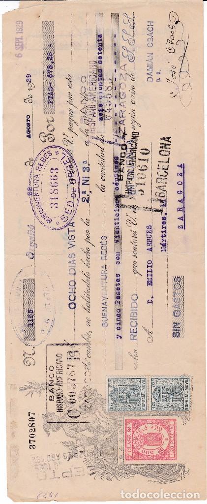 BUENAVENTURA REBES SEO DE URGEL LLEIDA 1929 (Coleccionismo - Documentos - Documentos Bancarios)