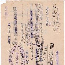 Documentos bancarios: BUENAVENTURA REBES SEO DE URGEL LLEIDA 1929. Lote 109180175