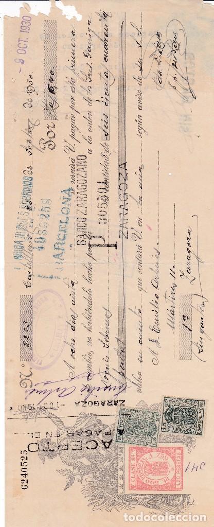 LETRA BARCELONA 1930 (Coleccionismo - Documentos - Documentos Bancarios)