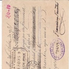 Documentos bancarios: LETRA FCO. FUENTES PAMPLONA 1931. Lote 109182987