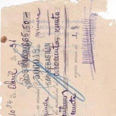 Documentos bancarios: MANUEL CLEMENT SAN SEBASTIAN 1931. Lote 109183443