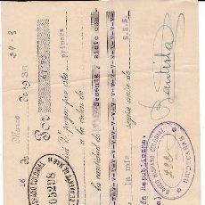 Documentos bancarios: LETRA DANIEL BAUTISTA ARENYS DE MAR 1936. Lote 109184675