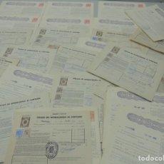 Documentos bancarios: COLECCIÓN LOTE 35 UND. DE PÓLIZAS DE OPERACIONES AL CONTADO BOLSA DE ESPAÑA AÑOS 60 . Lote 109315435