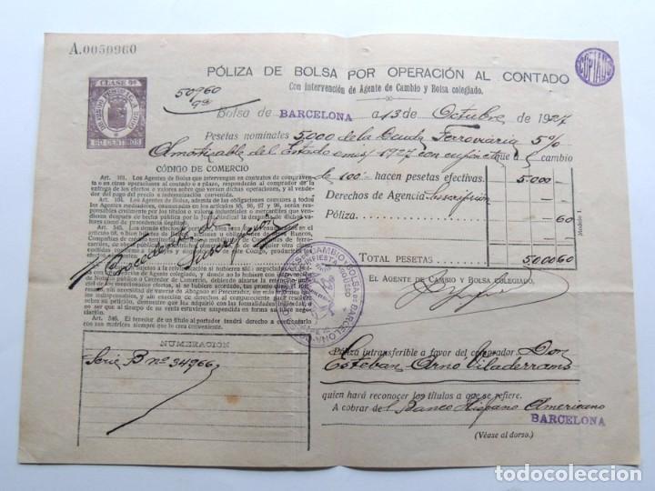 POLIZA DE BOLSA OPERACIONES CONTADO( AÑO 1927 ) DEUDA FERROVIARIA / CLASE 9ª ( REPUBLICA ) BARCELONA (Coleccionismo - Documentos - Documentos Bancarios)